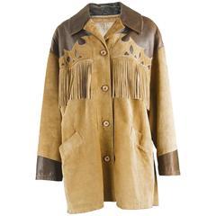 Byblos Italian Leather & Suede Oversized Western Style Fringed Jacket, 1980s