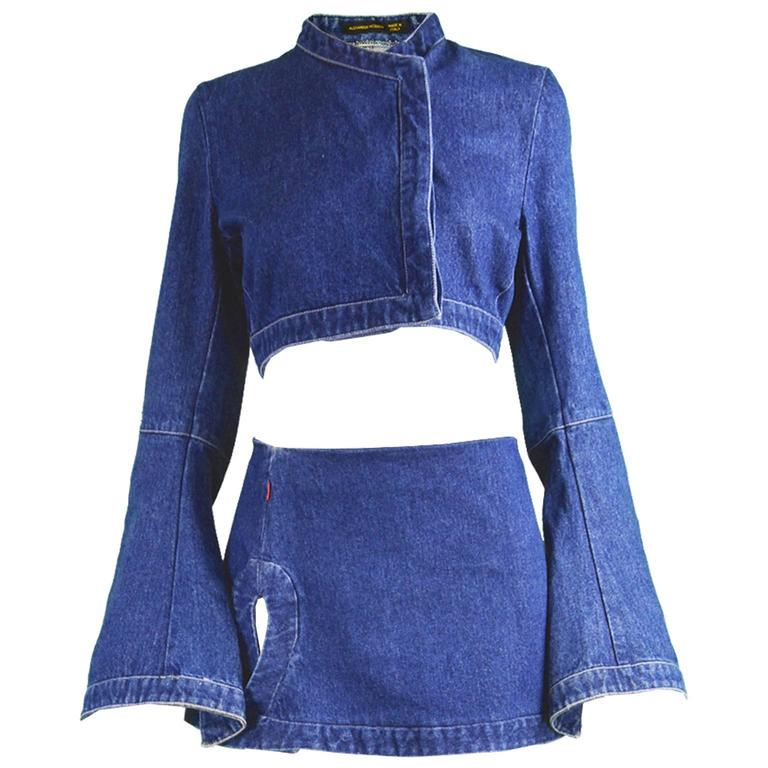 "Alexander McQueen The ""Eye"" Collection Denim Two Piece, S/S 2000 For Sale"