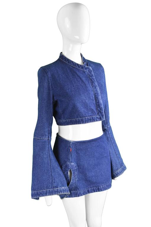 "Alexander McQueen The ""Eye"" Collection Denim Two Piece, S/S 2000 In Excellent Condition For Sale In Doncaster, GB"