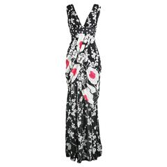 Kenzo Black & White Draped Floral Polka Dot Silk Chiffon Maxi Dress