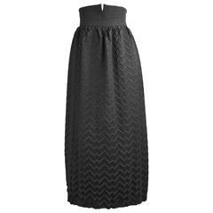 Romeo Gigli Museum Held High Waisted Grey Chevron Pleated Wool Skirt, c.1992