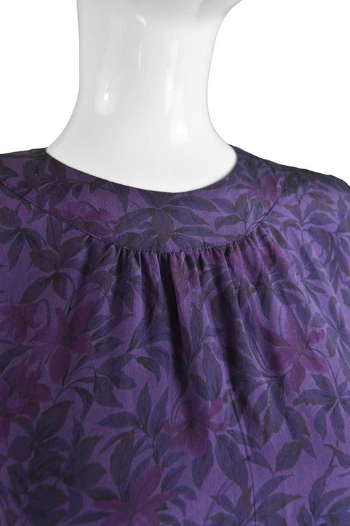 Women's Hanae Mori Purple Vintage Hibiscus Print Simple Silk Shift Dress, 1980s For Sale
