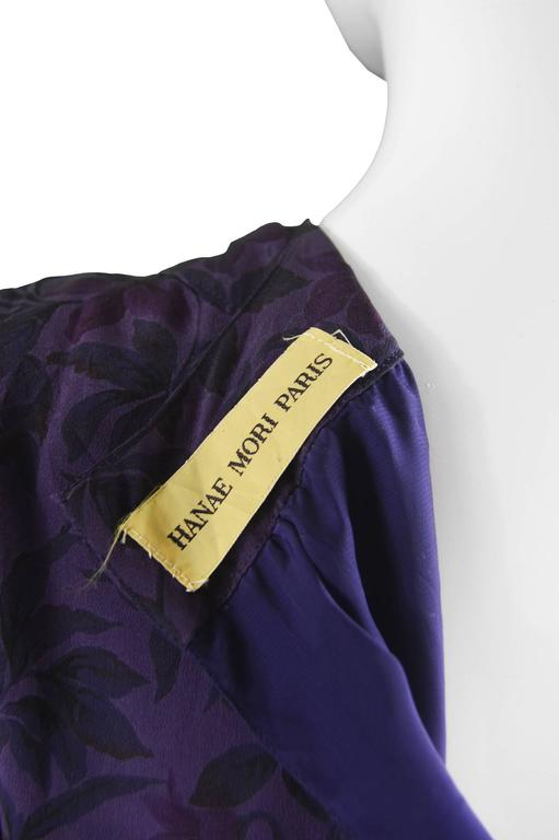 Hanae Mori Purple Vintage Hibiscus Print Simple Silk Shift Dress, 1980s For Sale 4