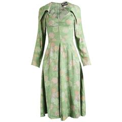 Irvine Sellars  of Carnaby Street Vintage Green Dagger Collar Dress, 1970s