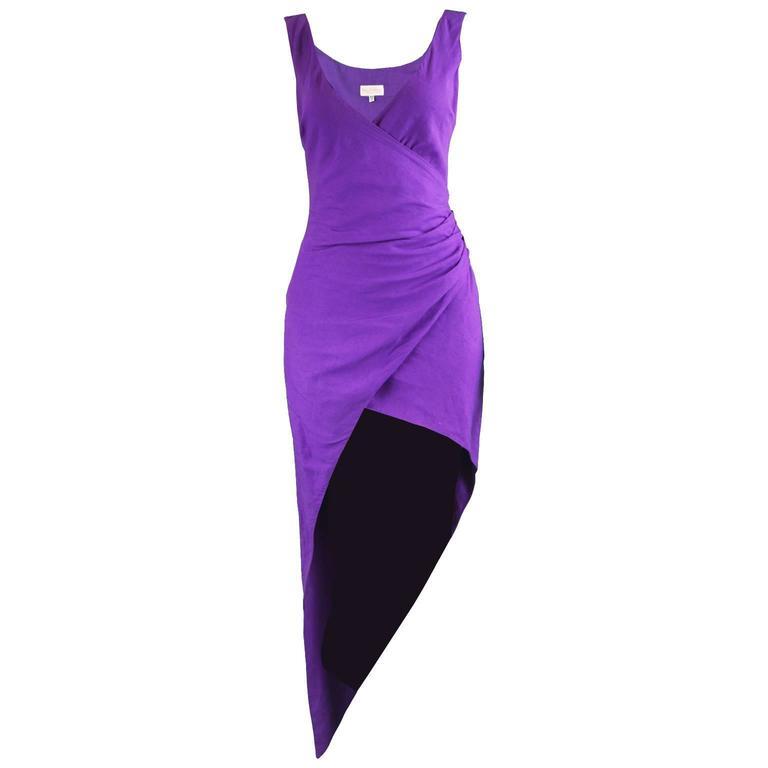Byblos Vintage Asymmetric Purple Linen Mini Party Dress, S / S 1992 For Sale