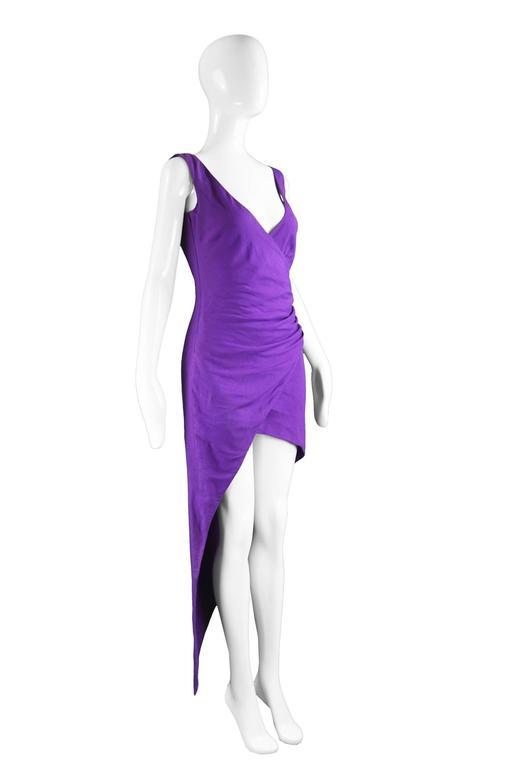 Women's Byblos Vintage Asymmetric Purple Linen Mini Party Dress, S / S 1992 For Sale