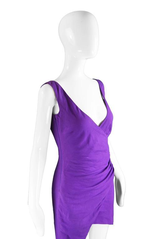 Byblos Vintage Asymmetric Purple Linen Mini Party Dress, S / S 1992 In Excellent Condition For Sale In Doncaster, South Yorkshire