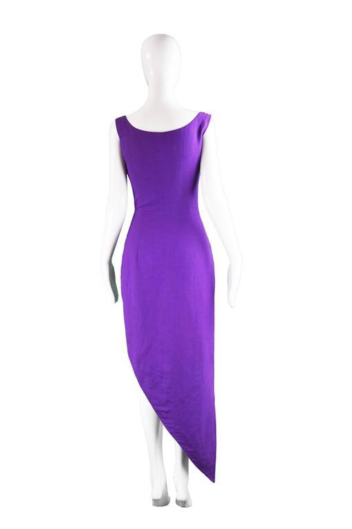 Byblos Vintage Asymmetric Purple Linen Mini Party Dress, S / S 1992 For Sale 2