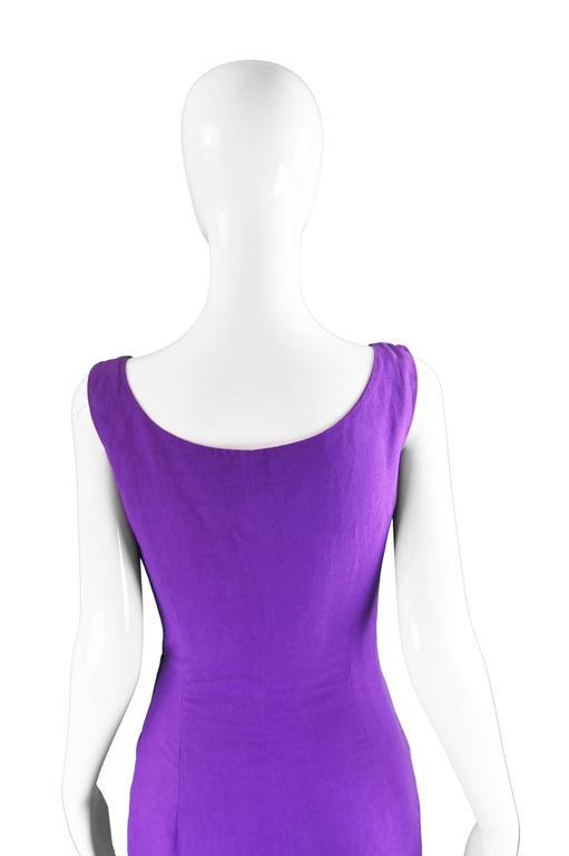 Byblos Vintage Asymmetric Purple Linen Mini Party Dress, S / S 1992 For Sale 3