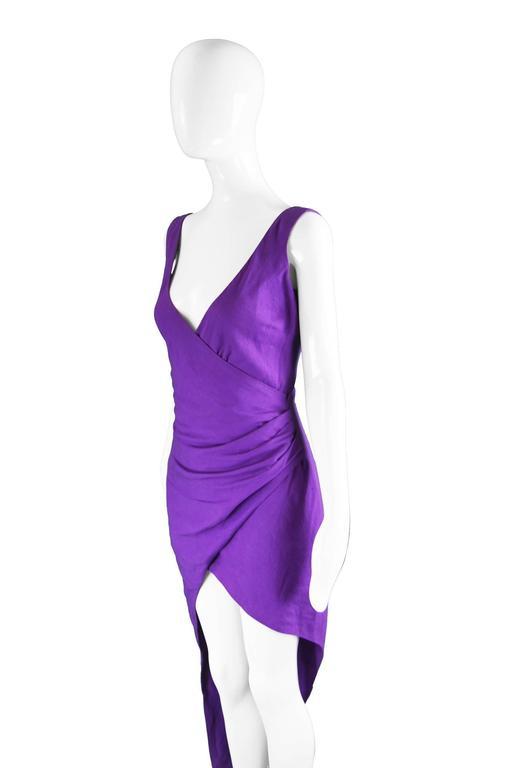 Byblos Vintage Asymmetric Purple Linen Mini Party Dress, S / S 1992 For Sale 1