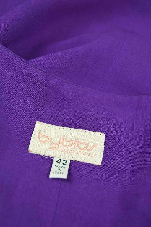 Byblos Vintage Asymmetric Purple Linen Mini Party Dress, S / S 1992 For Sale 4