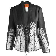 Kenzo Vintage Semi Sheer Flocked Organza & Linen Kimono Jacket, 1990s