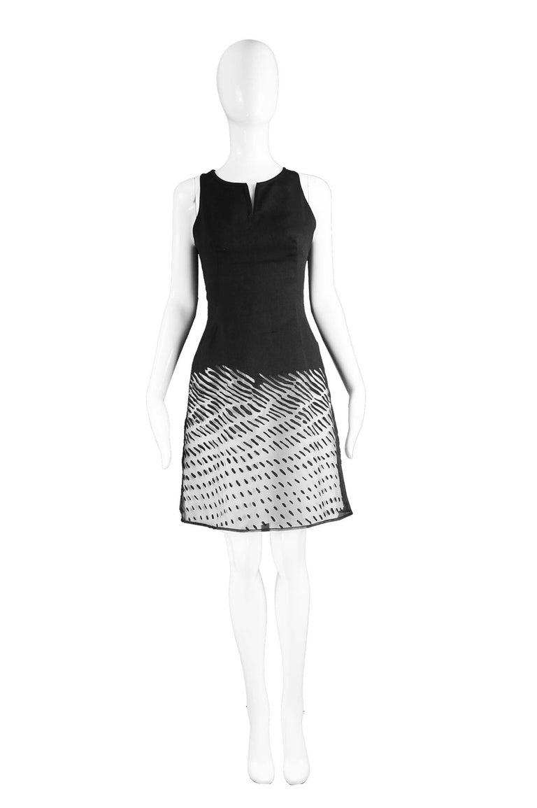 """Kenzo Vintage Black Linen & Flocked Organza Sleeveless Dress, 1990s  Estimated Size: UK 8/ US 4/ EU 36. Please check measurements.  Bust - 32"""" / 81cm Waist - 26"""" / 66cm Hips - 34"""" / 86cm Length (Shoulder to Hem) - 36"""" / 91cm  Condition: Excellent"""
