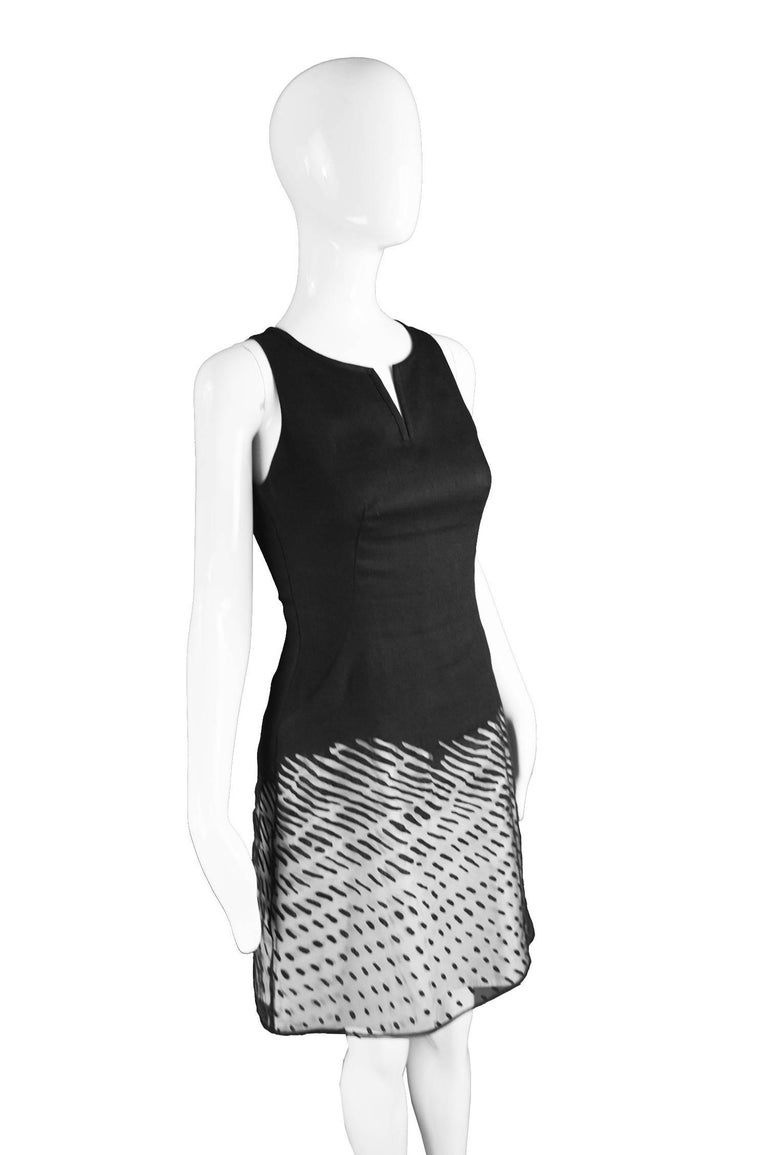Women's Kenzo Vintage Black Linen and Flocked Organza Sleeveless Dress, 1990s For Sale