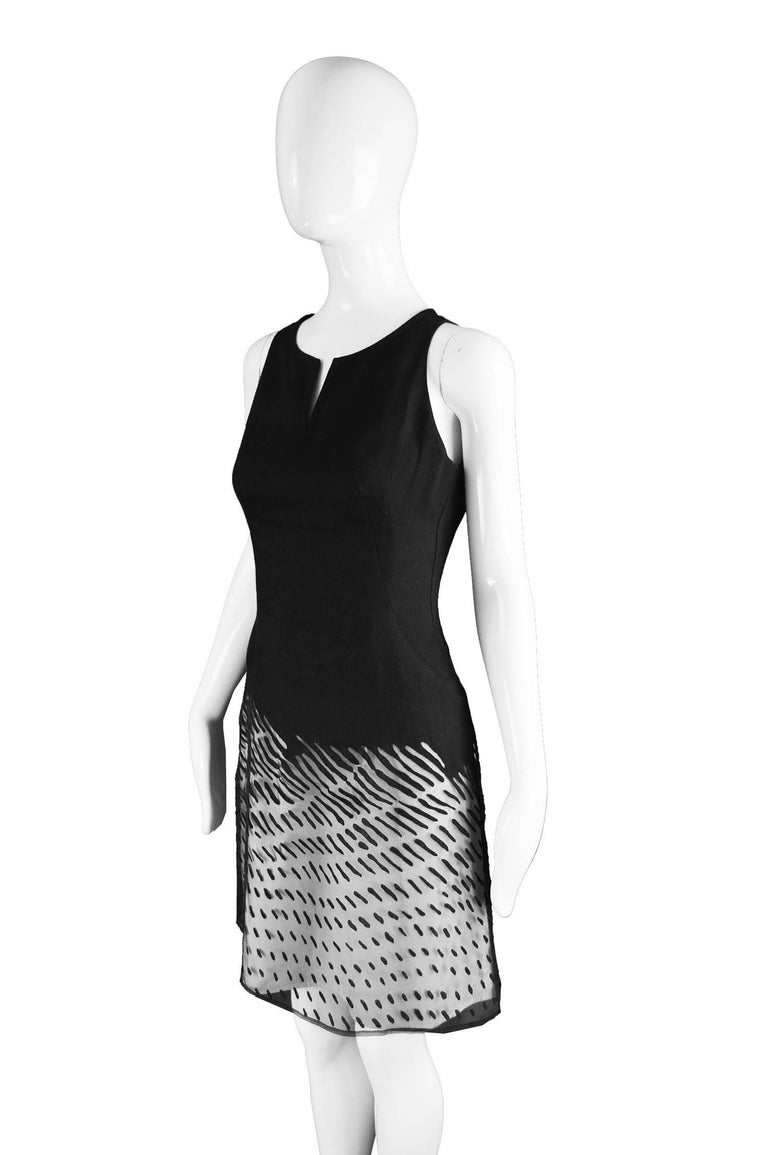 Kenzo Vintage Black Linen and Flocked Organza Sleeveless Dress, 1990s For Sale 2
