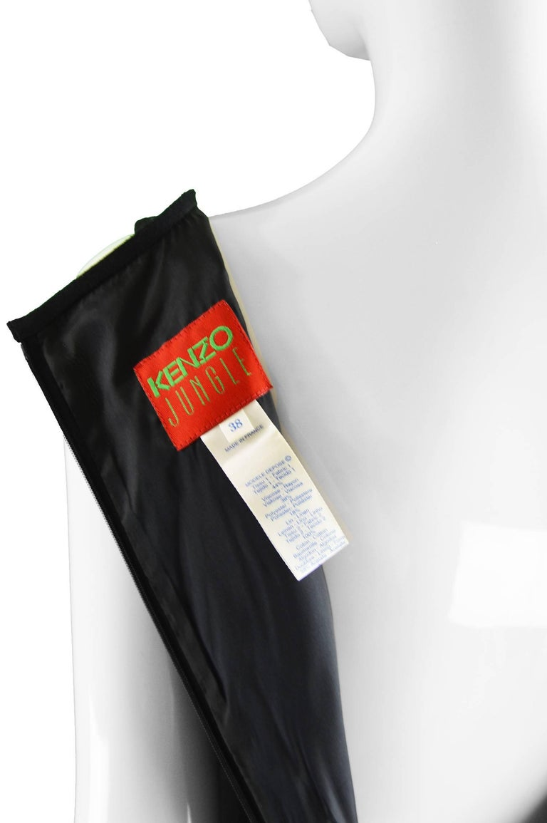 Kenzo Vintage Black Linen and Flocked Organza Sleeveless Dress, 1990s For Sale 4