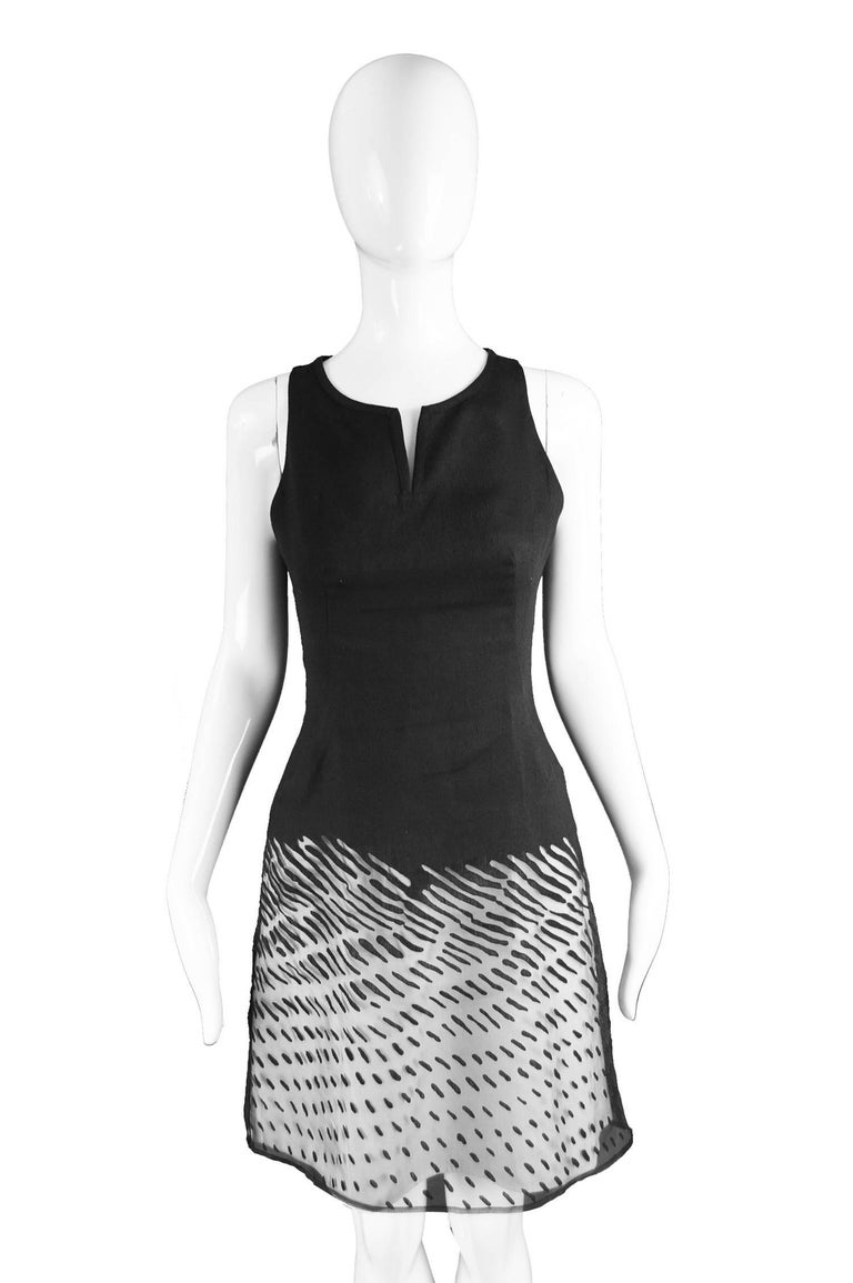 Kenzo Vintage Black Linen and Flocked Organza Sleeveless Dress, 1990s For Sale 5