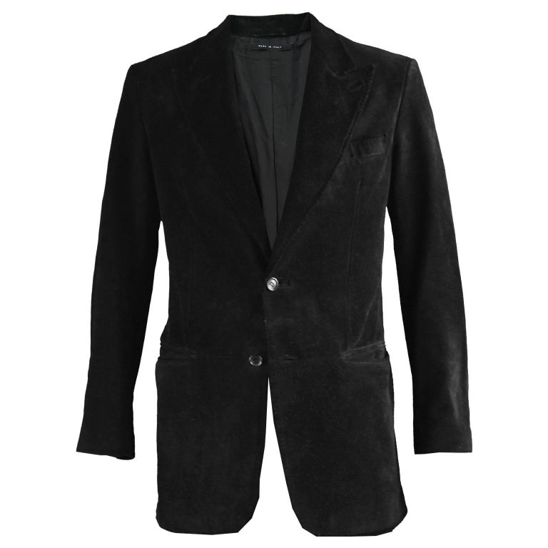 Tom Ford for Gucci Men's Black Suede Blazer with Peaked Lapels, A/W 2002 1