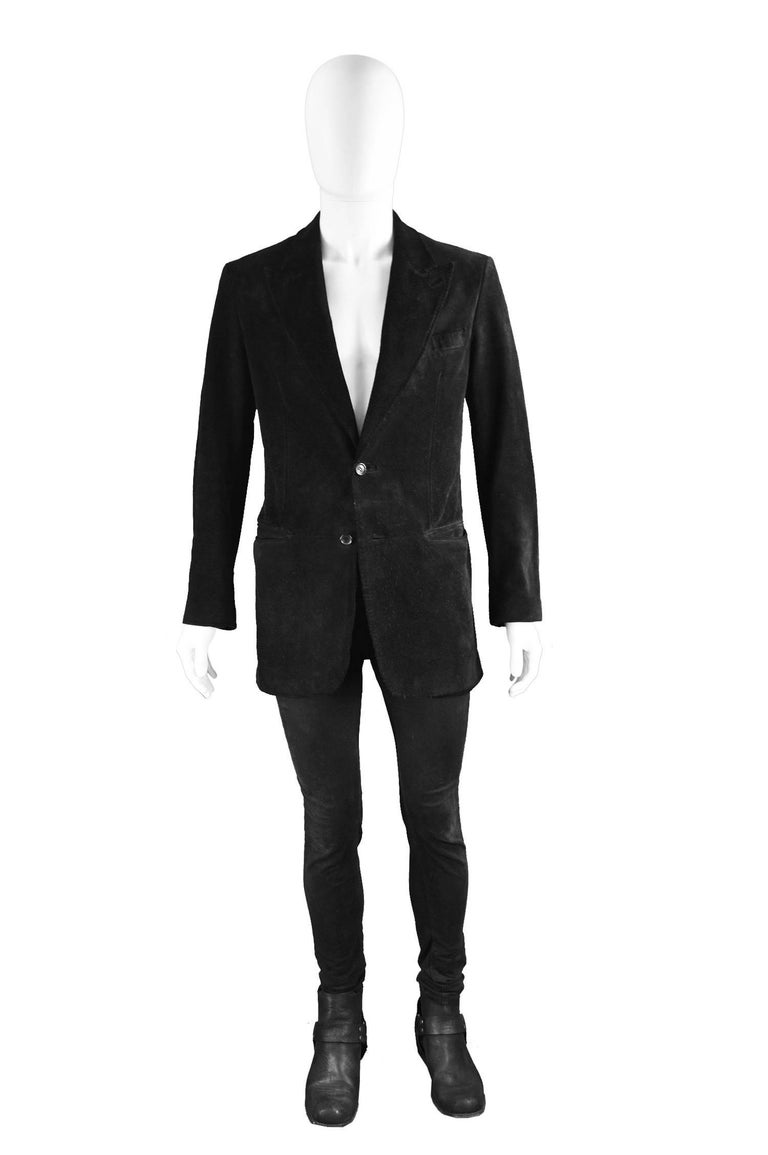 "Tom Ford for Gucci Men's Black Suede Blazer with Peaked Lapels, A/W 2002  Size: Marked 48 which is roughly a men's Small Chest - 42"" / 106cm (please remember to leave roughly 4 inch room for movement and thickness of suede) Waist - 36"" / 91cm Length"