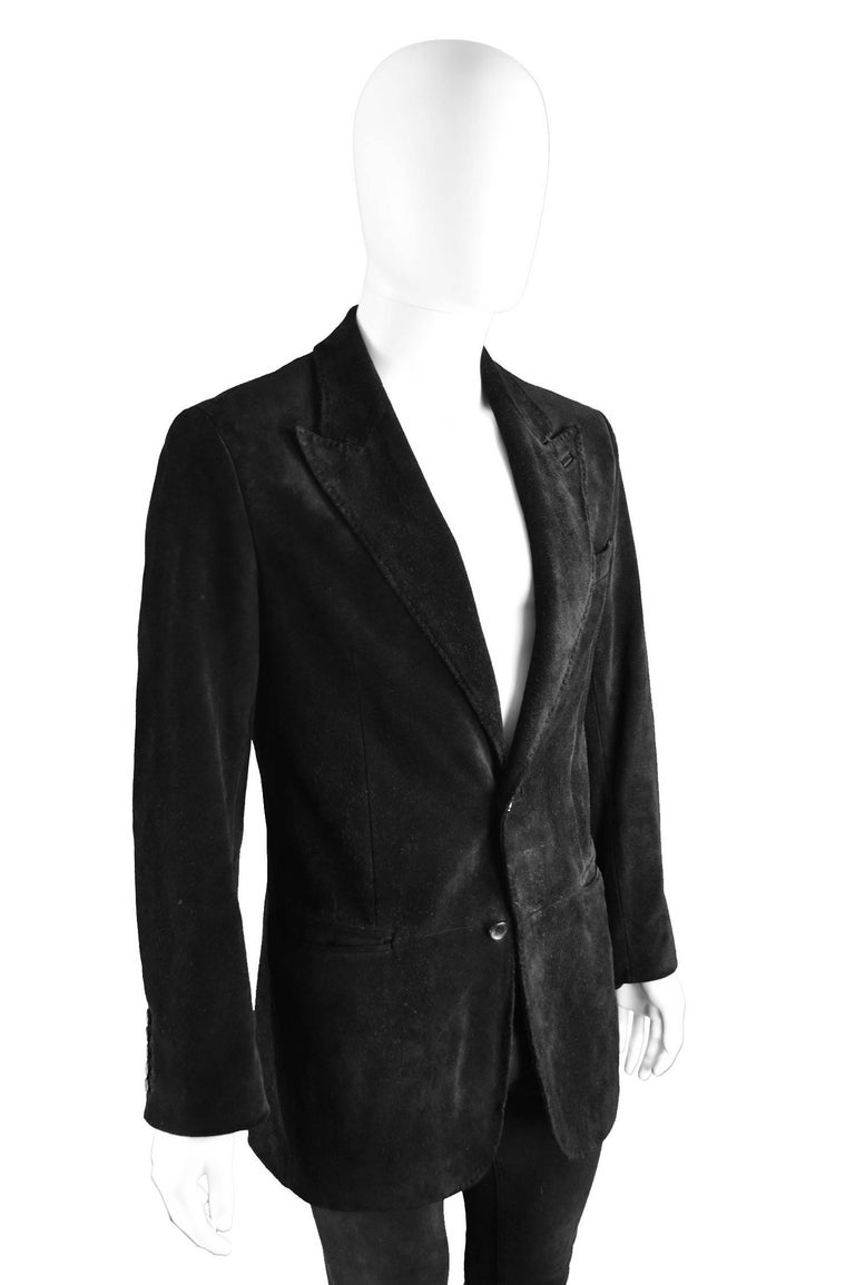 Tom Ford for Gucci Men's Black Suede Blazer with Peaked Lapels, A/W 2002 4
