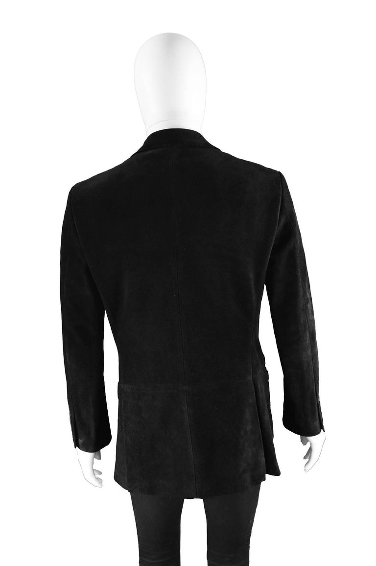 Tom Ford for Gucci Men's Black Suede Blazer with Peaked Lapels, A/W 2002 9