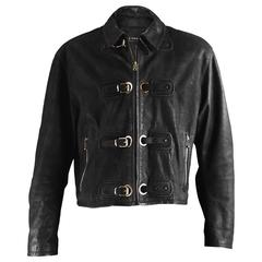 Calugi E Giannelli Men's Black Buckle Detail Italian Leather Jacket, 1980s