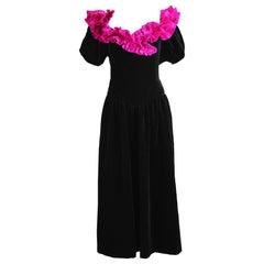 Gina Fratini Vintage Black Velvet and Pleated Fuchsia Evening Dress, 1980s