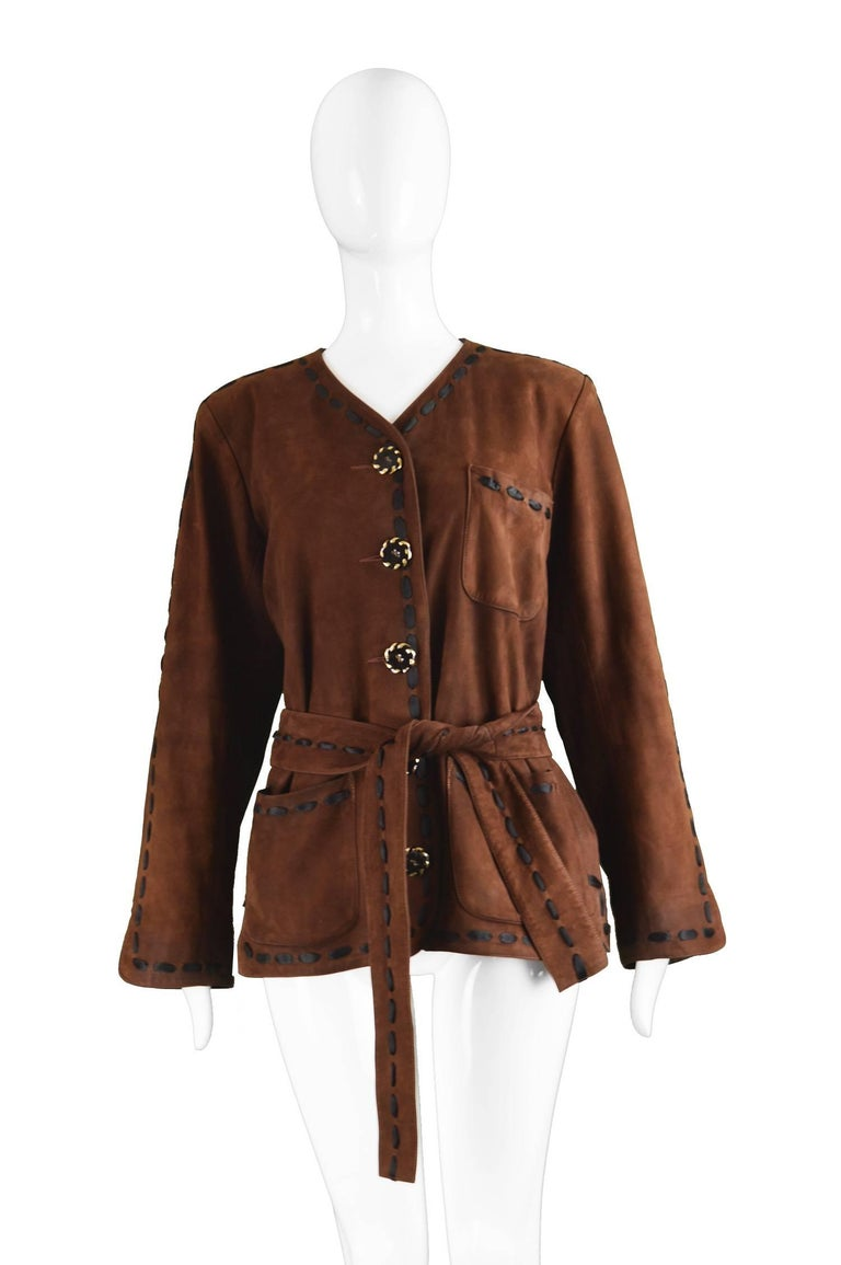 Yves Saint Laurent Brown Suede and Woven Satin Ribbon ...