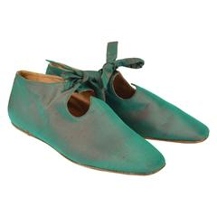 Romeo Gigli Vintage Iridescent Shot Silk Taffeta Green Flats, 1980s
