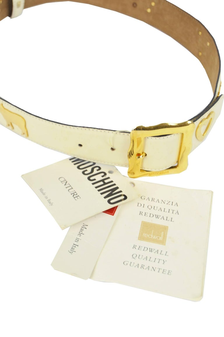Beige Moschino Vintage White and Gold Leather Belt with Cows and Hearts, 1980s   For Sale