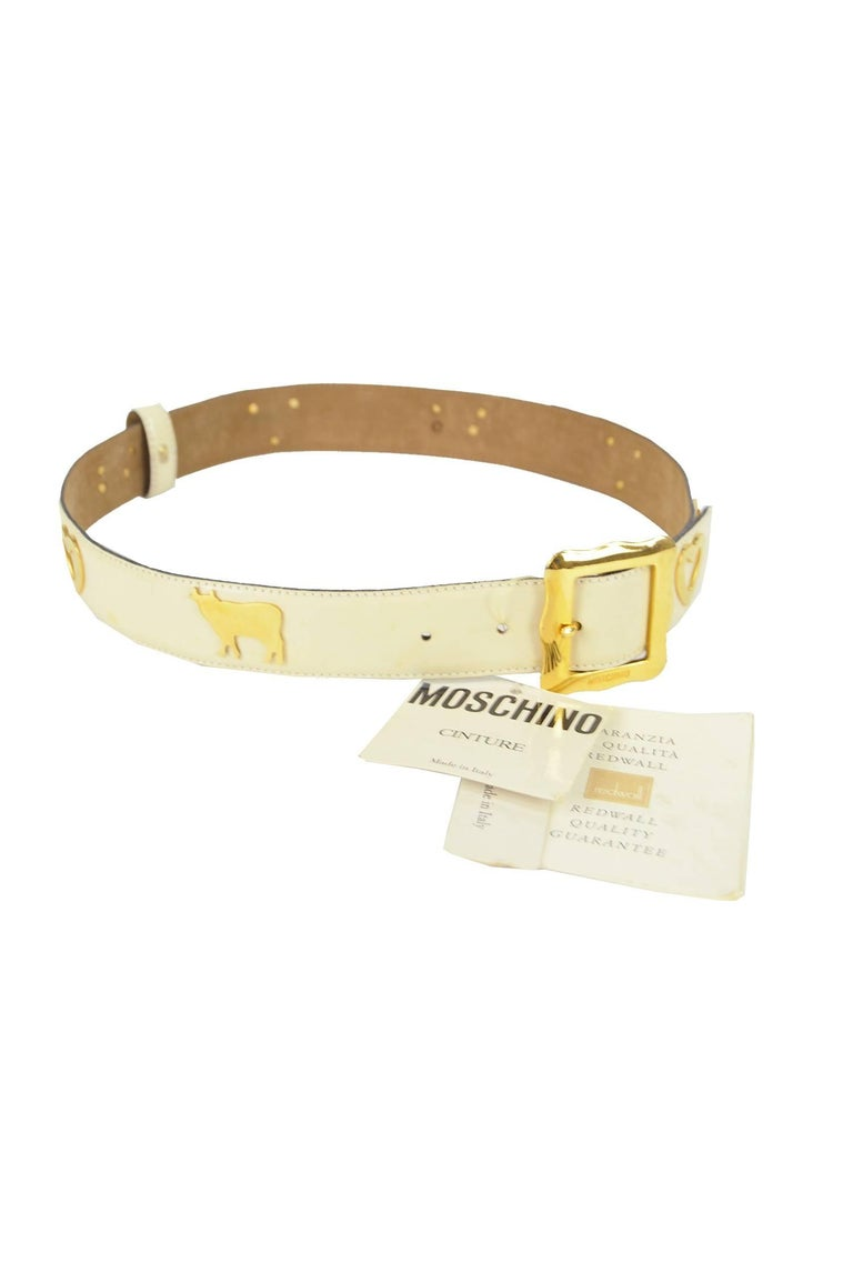 Moschino Vintage White & Gold Leather Belt with Cows & Hearts, 1980s NWT For Sale 1