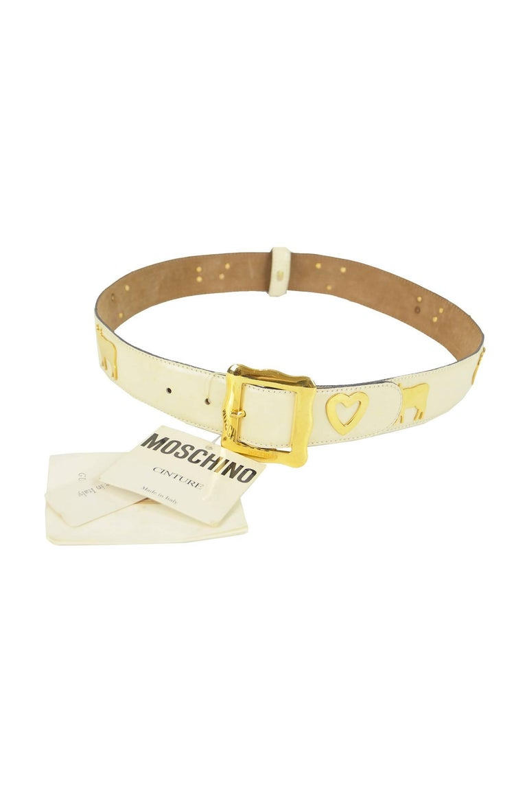 Moschino Vintage White & Gold Leather Belt with Cows & Hearts, 1980s NWT For Sale 2