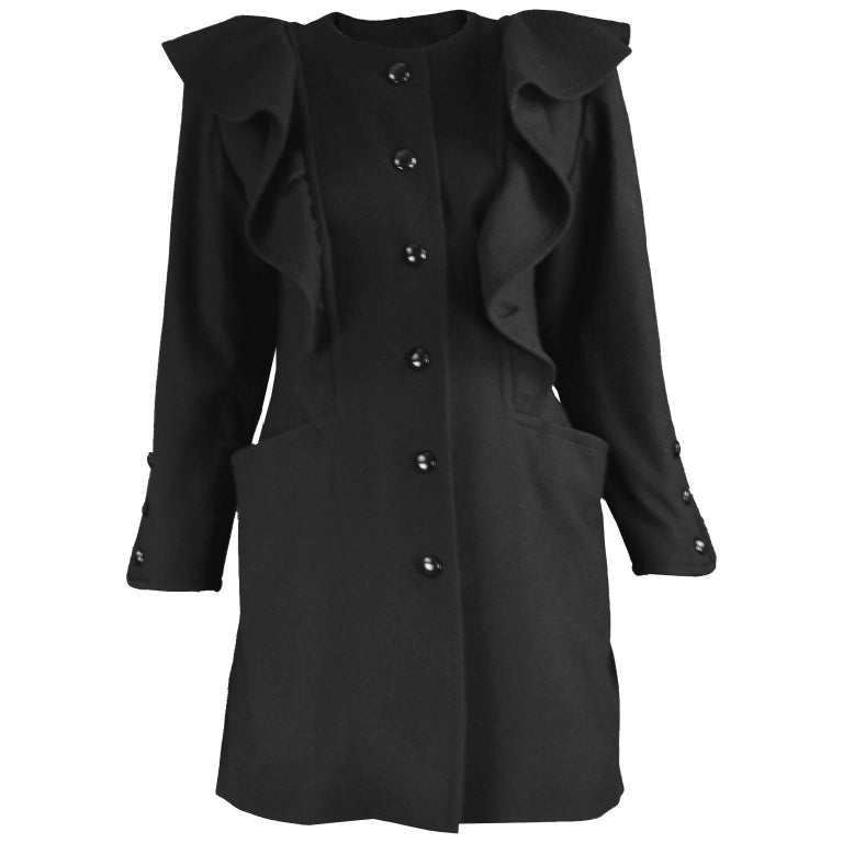 Nina Ricci Vintage Ruffled Detail  Black Wool Coat, 1980s