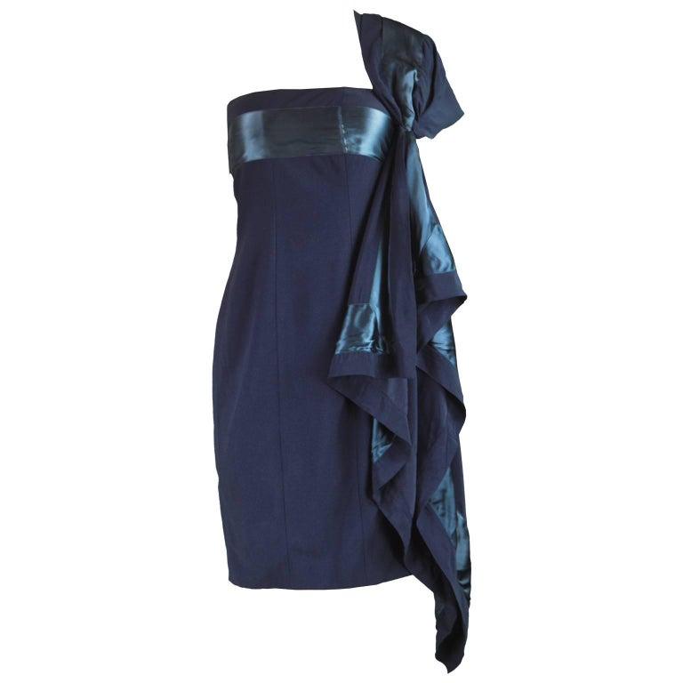 Gianfranco Ferre Vintage Navy Blue Crepe and Satin Shoulder Train Dress, 1990s