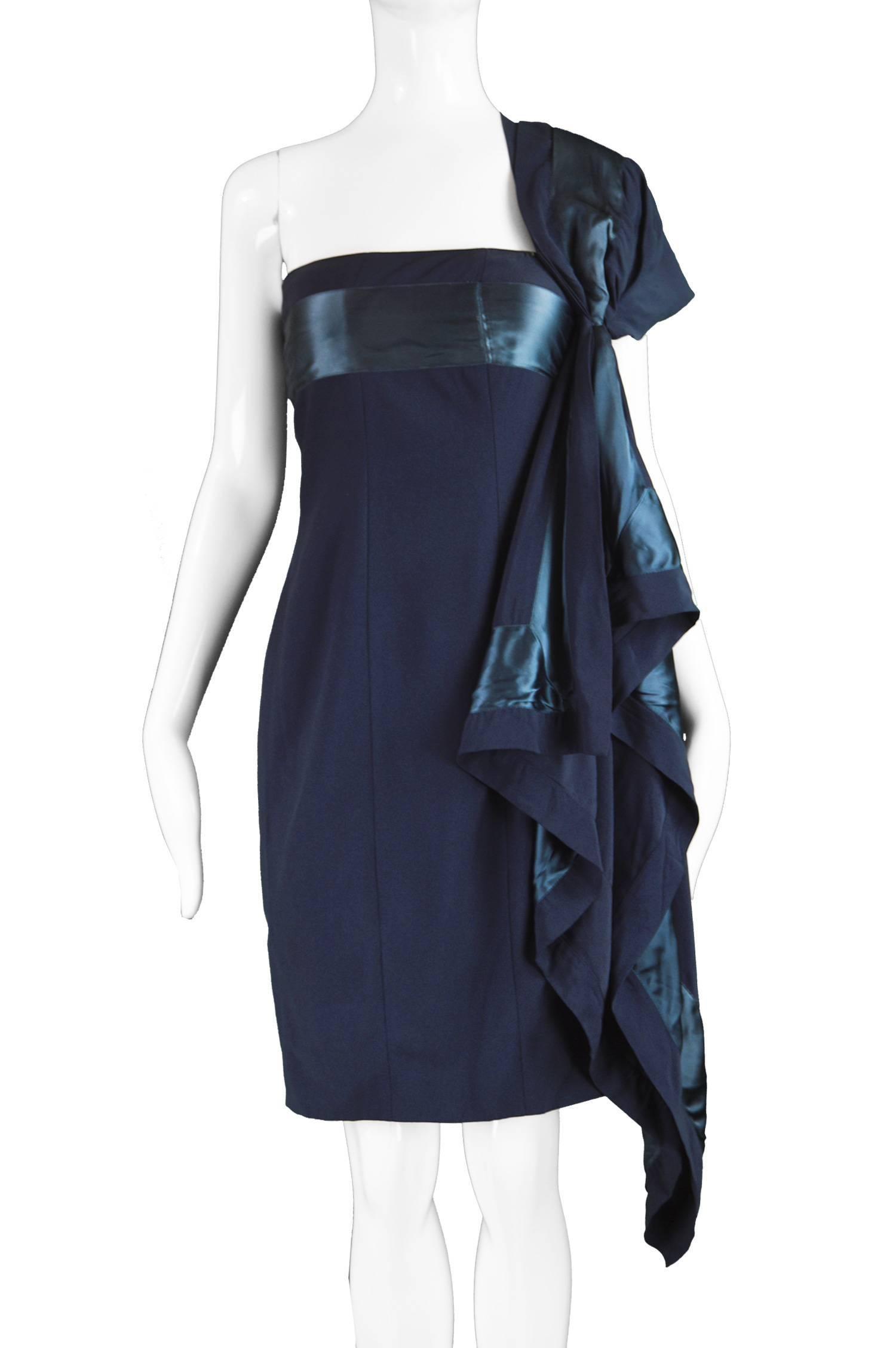 1ac43112f9d Gianfranco Ferre Vintage Navy Blue Crepe and Satin Shoulder Train Dress