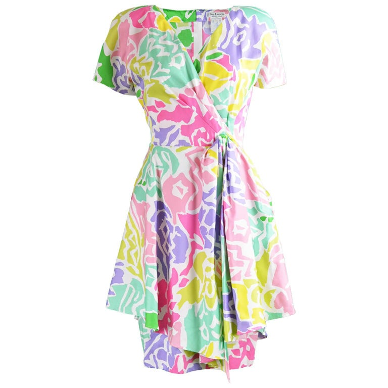 Guy Laroche Vintage Multicolored Cotton Peplum Flared Dress, 1980s