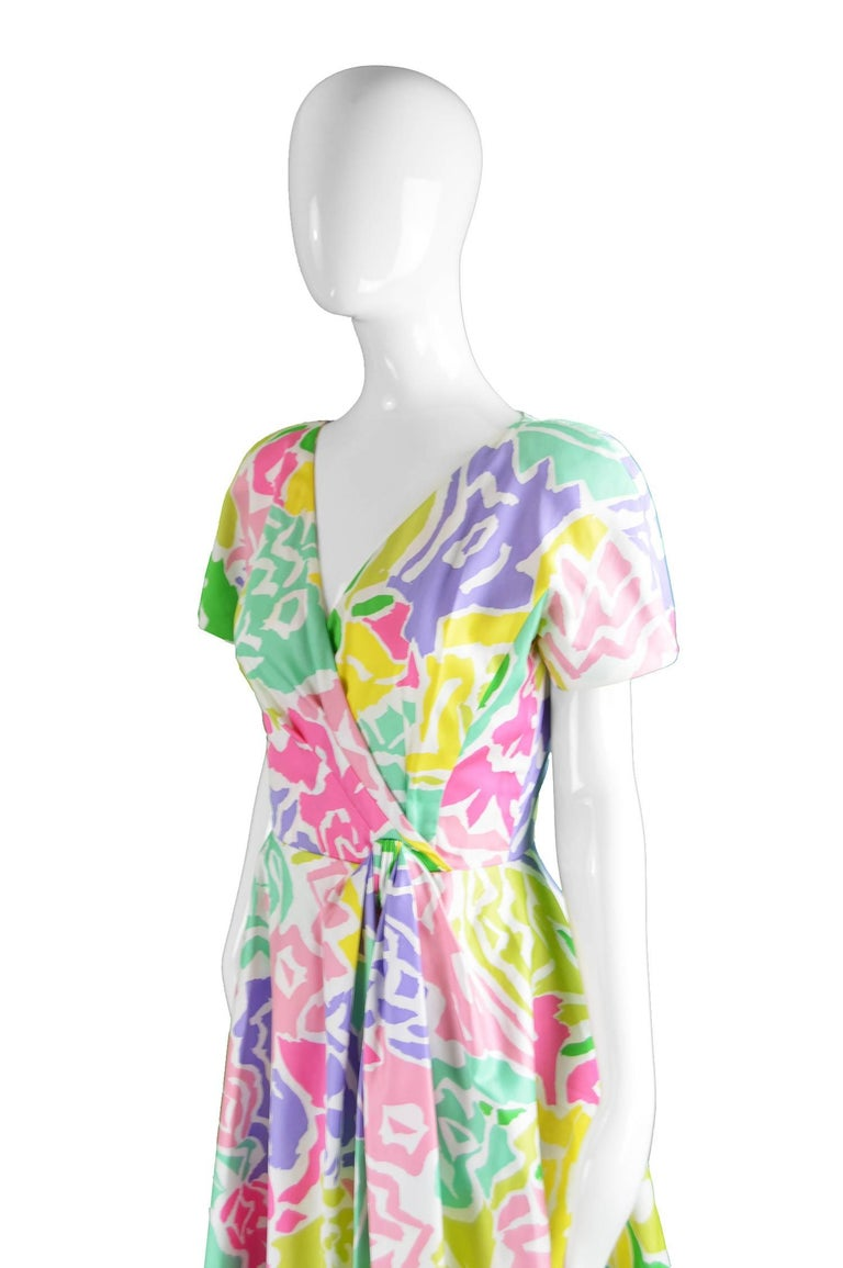 Guy Laroche Vintage Multicolored Cotton Peplum Flared Dress, 1980s In Excellent Condition For Sale In Doncaster, South Yorkshire