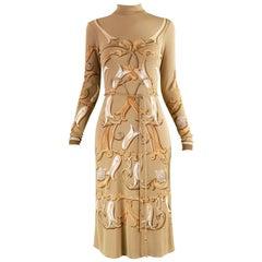 Hermes Paris Vintage Belted Brown Silk Jersey Shift Dress, 1970s