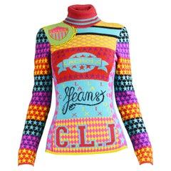 Christian Lacroix Vintage Multicolored Knit Turtleneck Sweater, 1990s