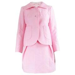 Unworn Carven Paris Baby Pink Quilted Cotton 2 Piece Jacket & Skirt Suit