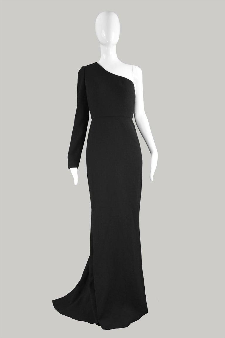Unworn Calvin Klein Collection One Shoulder Black Wool Evening Gown ...