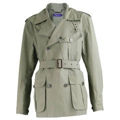 Ralph Lauren Purple Label Men's Green Bonded Cotton Short Trench Coat