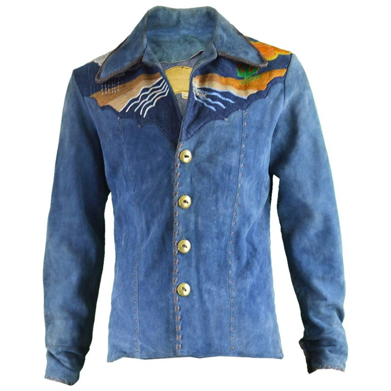 Handcrafted Mens Vintage Embroidered Whip Stitched Suede and Denim Jacket, 1970s