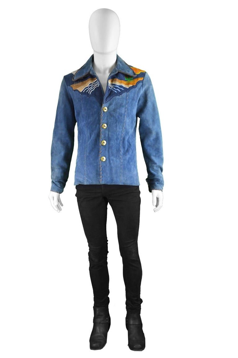 """Handcrafted Men's Vintage Embroidered Whip Stitched Suede & Denim Jacket, 1970s  Estimated Size: Men's Small. Please check measurements to ensure fit. Chest - 40"""" / 101cm (please allow a couple of inches room for movement underneath) Waist - 34"""""""