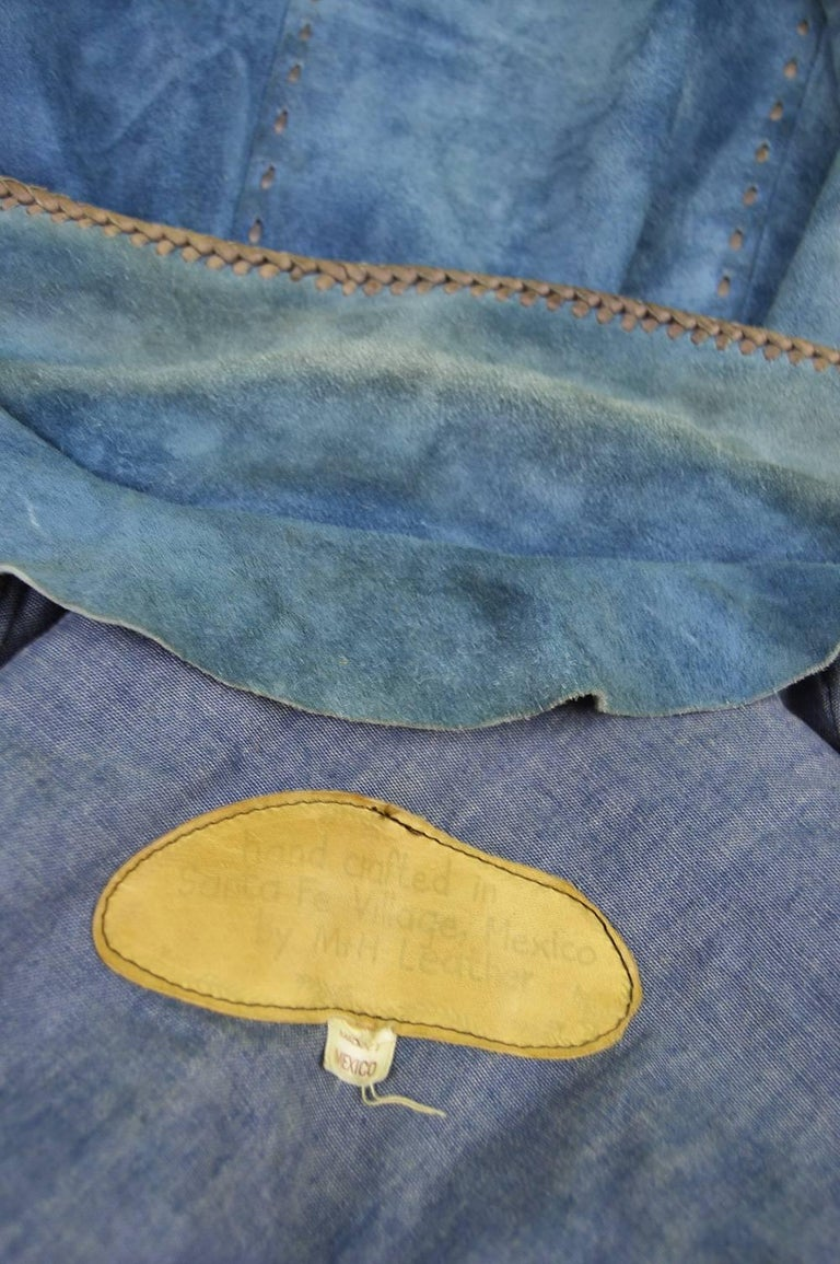 Handcrafted Mens Vintage Embroidered Whip Stitched Suede and Denim Jacket, 1970s For Sale 5