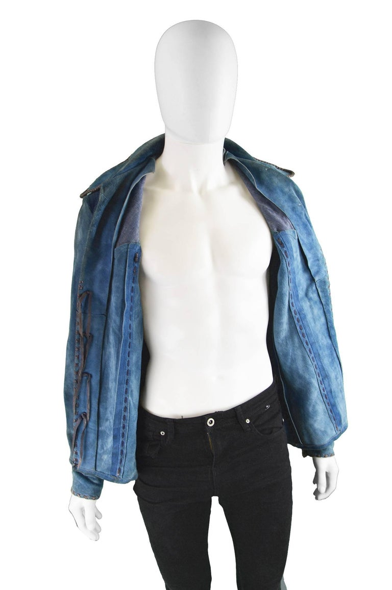 Handcrafted Mens Vintage Embroidered Whip Stitched Suede and Denim Jacket, 1970s For Sale 4