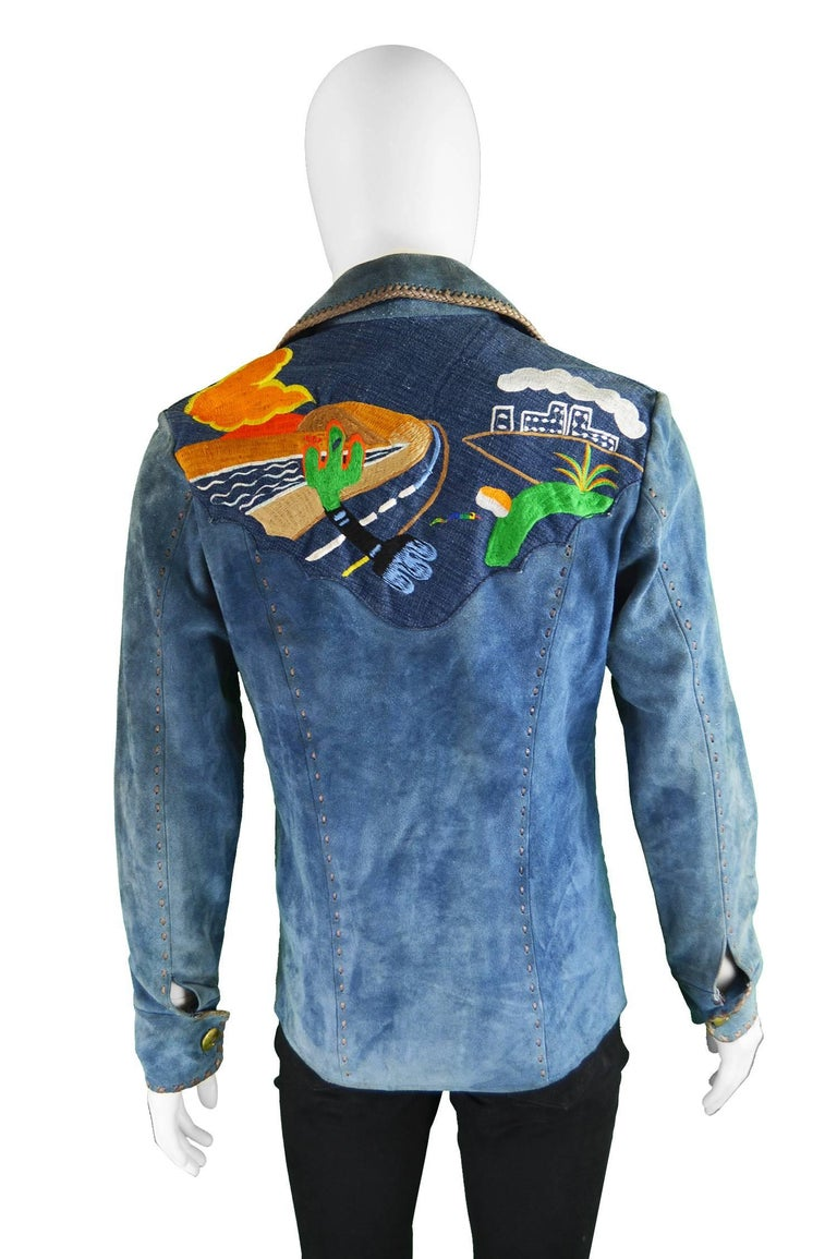 Handcrafted Mens Vintage Embroidered Whip Stitched Suede and Denim Jacket, 1970s For Sale 2