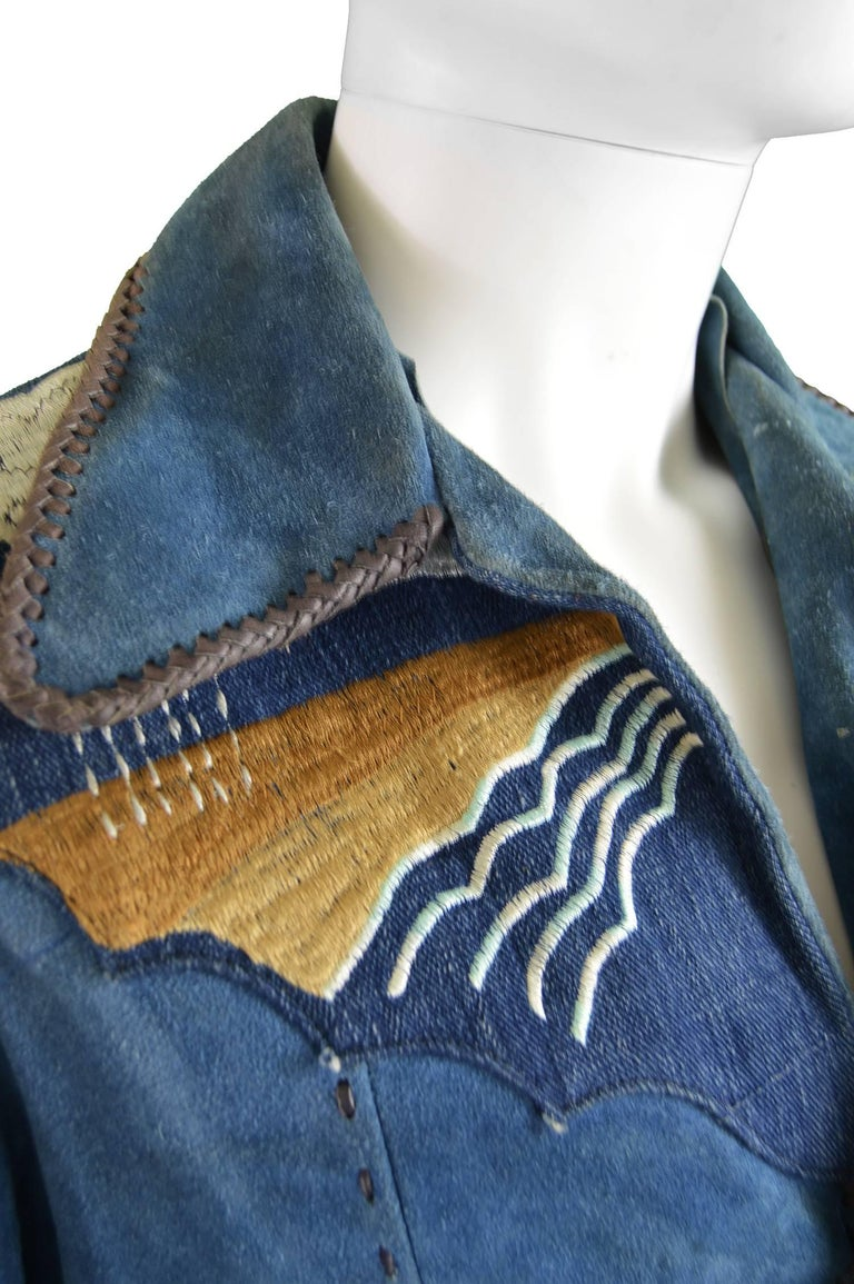 Blue Handcrafted Mens Vintage Embroidered Whip Stitched Suede and Denim Jacket, 1970s For Sale