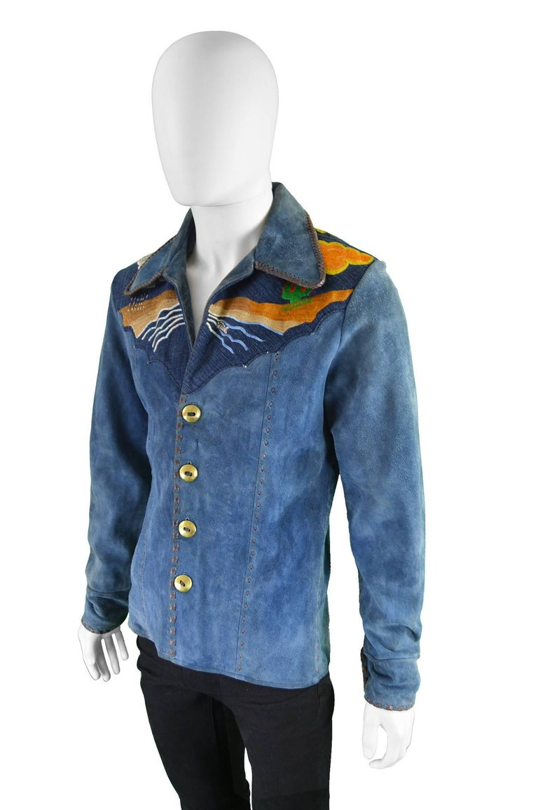 Handcrafted Mens Vintage Embroidered Whip Stitched Suede and Denim Jacket, 1970s In Excellent Condition For Sale In Doncaster, South Yorkshire