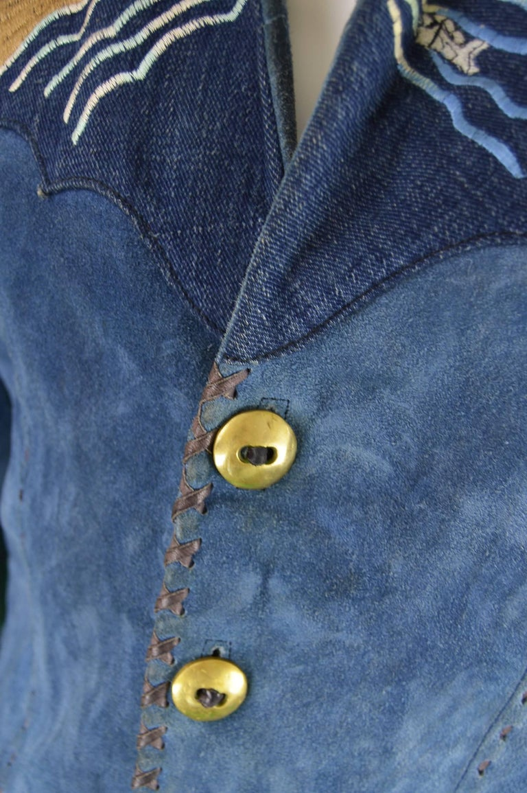 Handcrafted Mens Vintage Embroidered Whip Stitched Suede and Denim Jacket, 1970s For Sale 1